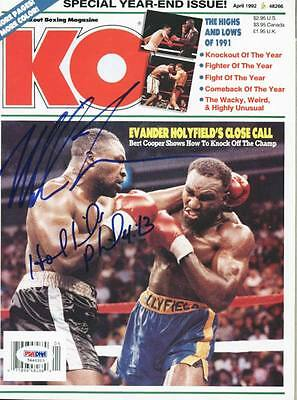 MIKE TYSON & EVANDER HOLYFIELD BOXING AUTHENTIC SIGNED KO MAGAZINE PSA #5A46313