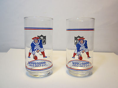 2 Vintage in Box New England Patriots Football Glass Cup old logo Mobil NFL Lot