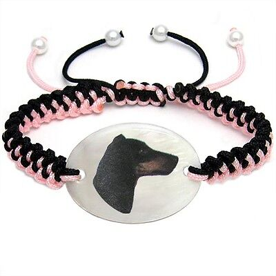 Manchester Terrier Natural Mother Of Pearl Adjustable Knot Bracelet Chain BS100