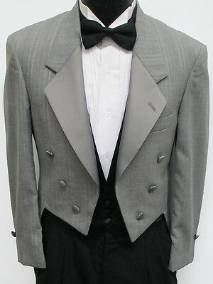 Light Grey Christian Dior 6 Button Tuxedo Tailcoat Wedding Costume Theater 40R