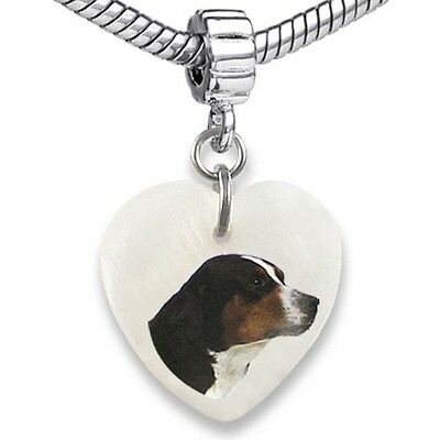 Swiss Mountain Dog Heart Mother Of Pearl European Charm Bead For Bracelet EBS21