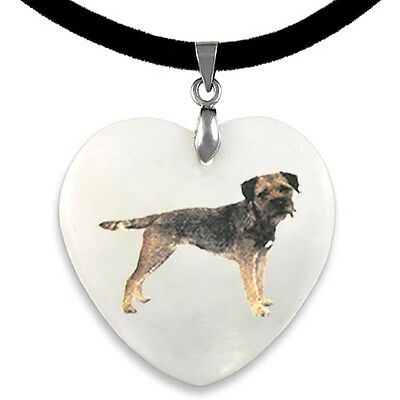 Border Terrier Natural Mother Of Pearl Heart Pendant Necklace Chain PP114