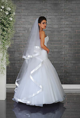 2 Layer Floor Length Wedding Veil on Comb with Wide Satin Edge VD-125
