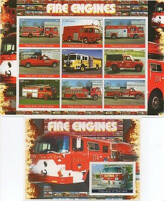 Pair Of Fire Engines Fire Truck Fire Fighter Somalia 2002 Mnh Stamp Sheetlets