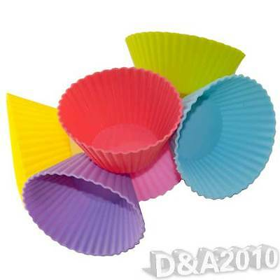 6X Candy Color Silicone Jelly Mould Pudding Puff Muffin Cup Cake Baking Mold New