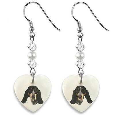 Basset Hound 925 Sterling Silver Heart Mother Of Pearl Dangle Earrings EP117