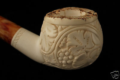 Natural VineYard Hand Carved Block Meerschaum Pipe in a fitted CASE 4913 New