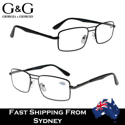 Men Full Rim Frame Metal Reading Glasses Black Brown 1.0 1.5 2.0 2.5 3.0 3.5 4.0
