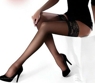 "Hold-ups by Marilyn ""EROTIC"" -15 Denier - 10cm Deep Lace Top"