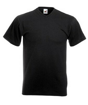 T-shirt uni homme col V manches courtes FRUIT OF THE LOOM  COULEUR NOIR