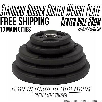 NEW Rubber Coated Weight Plate 1.25KG-20KG Fitness Gym Weightlifting Equipment