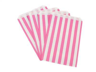 "100 5"" x 7"" Pink Candy Stripe Paper Sweet Buffet Gift Shop Kraft Party Food Bags"