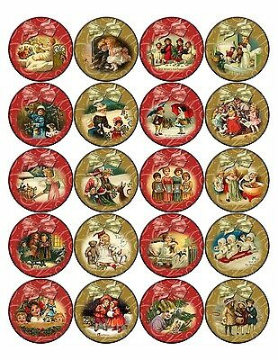 "Christmas round bottle cap stickers ribbons assorted sizes 40 1"" 24 1.5"" 20 2"""
