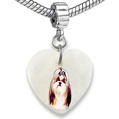 Shih Tzu Dog Heart Dangle Mother Of Pearl European Bracelet Charm Bead EBS280