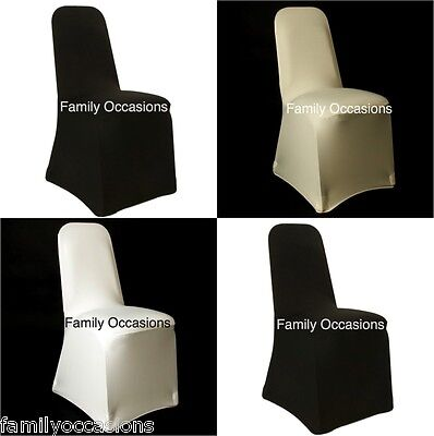 50 Spandex Chair Covers Available In White, Black, Ivory Universal Fit New