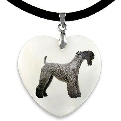 Kerry Blue Terrier Dog Natural Mother Of Pearl Heart Pendant Necklace Chain PP57