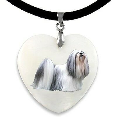 Lhasa Apso Dog Natural Mother Of Pearl Heart Pendant Necklace Chain PP285