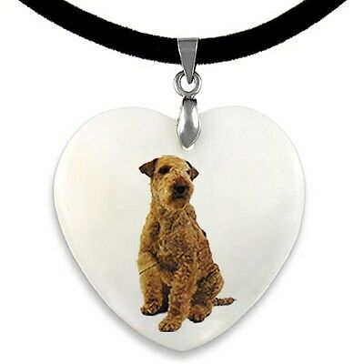 Lakeland Terrier Natural Mother Of Pearl Heart Pendant Necklace Chain PP54
