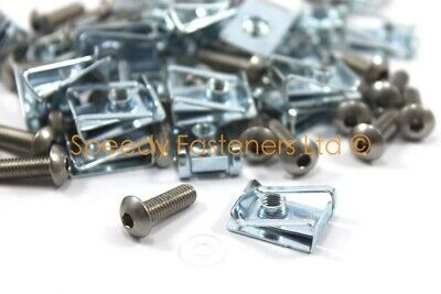 Pack of 25 Stainless Steel Bolts Spring U Nuts Clips m6 Fairing Panel Bolt Clip