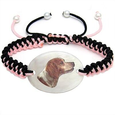 Brittany Dog Natural Shell Mother Of Pearl Adjustable Knot Bracelet Chain BS177