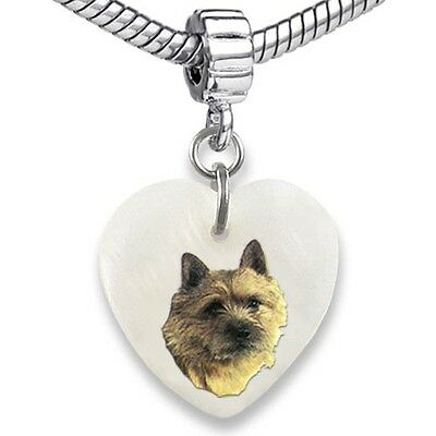 Norwich Terrier Heart Mother Of Pearl European Charm Bead For Bracelet EBS96