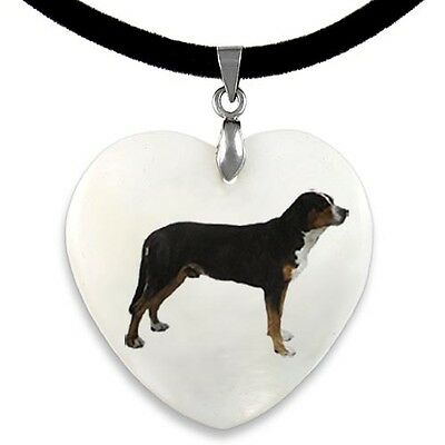 Great Swiss Mountain Dog Natural Mother Of Pearl Heart Pendant Necklace PP21