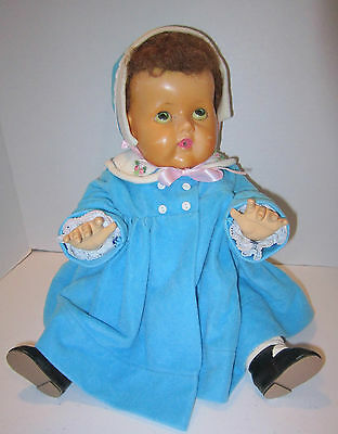 """19"""" vint 1950's Amer Char Tiny Tears -  skull cap wig - rubber body-great outfit"""