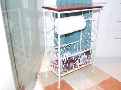 Handmade Iron Brace French Style Kitchen Bathroom Side Table MDF Top W001
