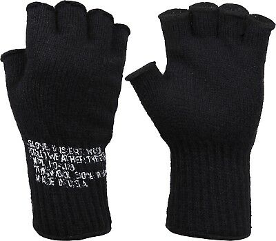 Black Tactical Fingerless Military Glove Liner Inserts Wool Gloves USA Made