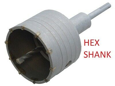 "100mm TCT CORE DRILL WITH HEX ARBOR 100MM  4"" Brick wall hole cutter extractor"