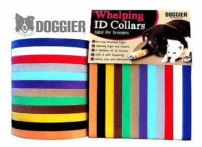 Doggier Whelping ID Collars Bands Kitten Puppy Dog Soft Adjustable Reusable