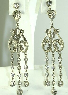 Edwardian Antique Long Dangling Crystal Rhinestone Earrings