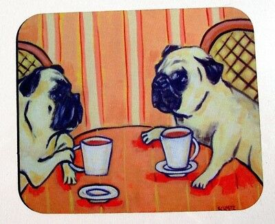 MOUSE PAD mousepad computer office supply fawn pug art Dog gift modern coffee