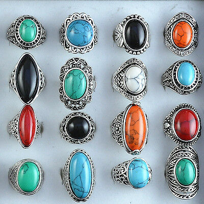 6PCS Vintage fashion jewelry Mixed Color&Design Antique Silver Plated Stone Ring