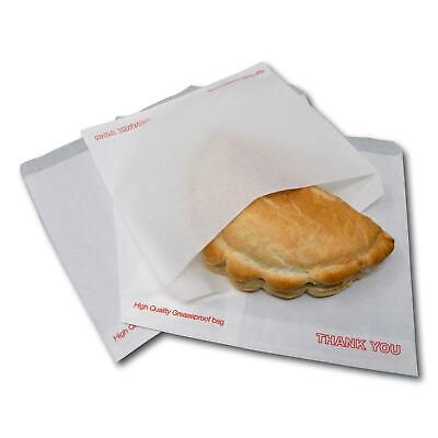 """100 7"""" x 7"""" White Thank You Greaseproof Food Cake Sweet Sandwich Paper Bags"""