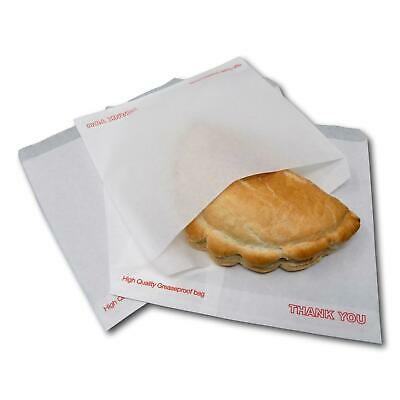 """300 7"""" x 7"""" White Thank You Greaseproof Food Cake Sweet Sandwich Paper Bags"""