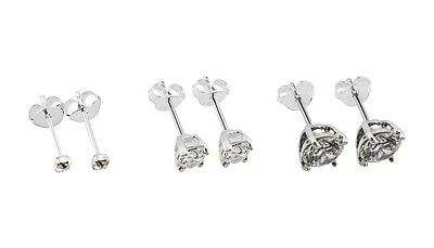 925 Solid Sterling Silver Clear Jewel  Ear Studs In SIzes 2mm- 8mm + Multi Packs