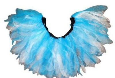 Neon Tutu 4 Layer Blue & White Skirt 80's Fancy Dress Hen Party Fun Run Night