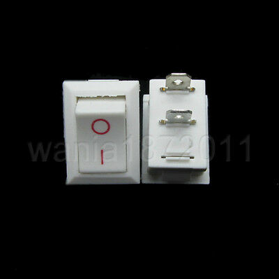 5 × Mini Rocker Switch White 2 Pin SPST ON-OFF 20×13mm Snap-in