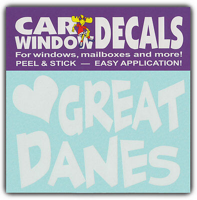 Car Window Decals: I Love Great Danes | Dogs | Stickers Cars Trucks Glass