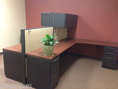 (7) Work Stations - Haworth Multiple Configuration Office Cubicles w/ Cabinets