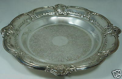 VINTAGE SILVER PLATE PLATTER,DISH,SHALLOW BOWL,TRAY FLOWERS ORNATE,EMBOSSED