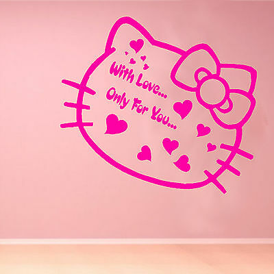 Hello Kitty Love Kids Quote Wall Sticker Art Decoration Bedroom Girls Home L23