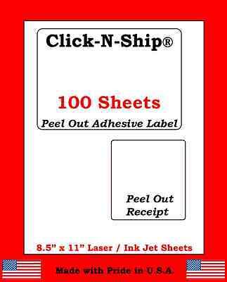 100 Laser /Ink Jet Labels Click-N-Ship with Peel Off Receipt -Perfect for USPS!