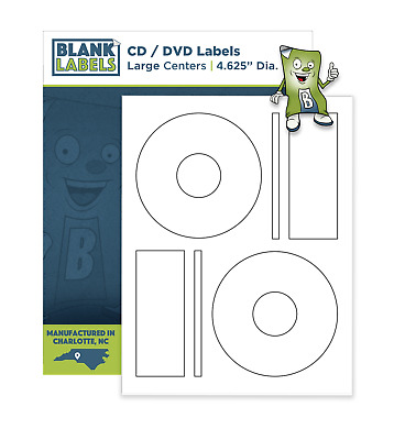 500 CD/ DVD Laser and Ink Jet Labels Compatible to Memorex 250 Sheets Large Core
