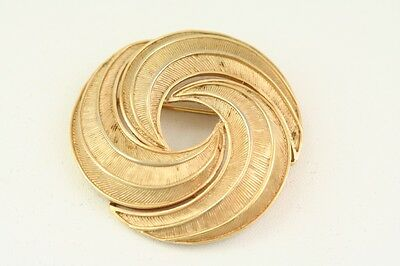 Vintage Signed Textured Trifari Costume Jewelry Gold Swirl Brooch Pin