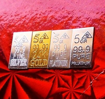 Gold, Silver, Platinum, Palladium, 5GRAIN Combo BULLION MINTED FOUR Bars