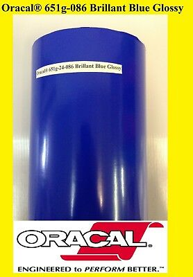 "12"" x 10 FT Brillant Blue Glossy Oracal 651 Vinyl Adhesive  Plotter Sign 086"