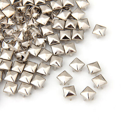100 X Silver 6mm Leathercraft DIY Pyramid Studs Spots Spikes Rivets Punk