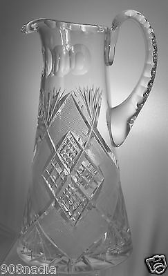 VINTAGE CUT GLASS OR CRYSTAL WATER/WINE PITCHER FINE ETCHING BEAUTIFUL